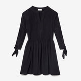 DAHLIA SILK PINTUCK DRESS - BLACK