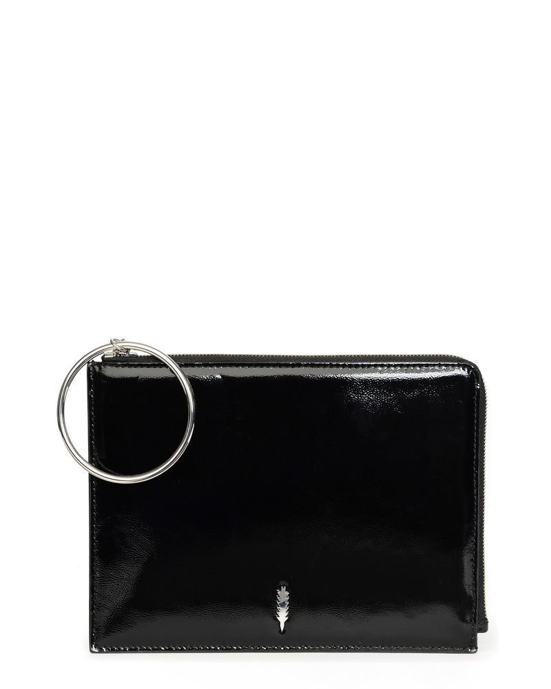 Gable Ring Travel Pouch-Black Patent