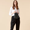 REN DRAPED CROP PANTS - BLACK