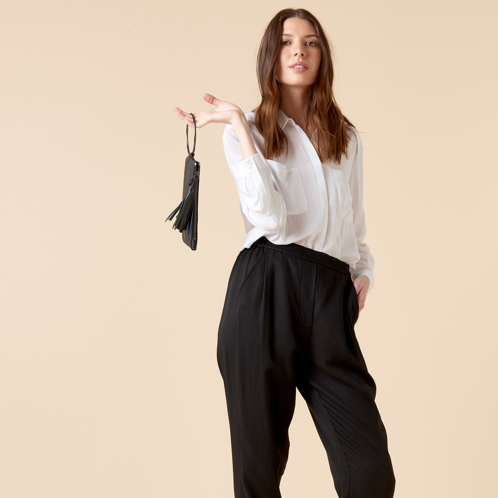 2019 year for lady- How to black wear draped pants