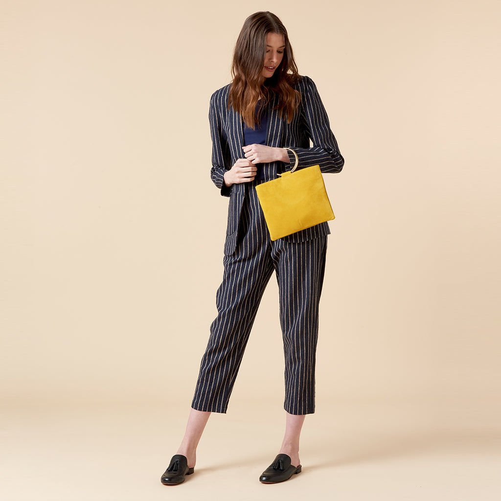 REN DRAPED CROP PANTS - NAVY PINSTRIPE