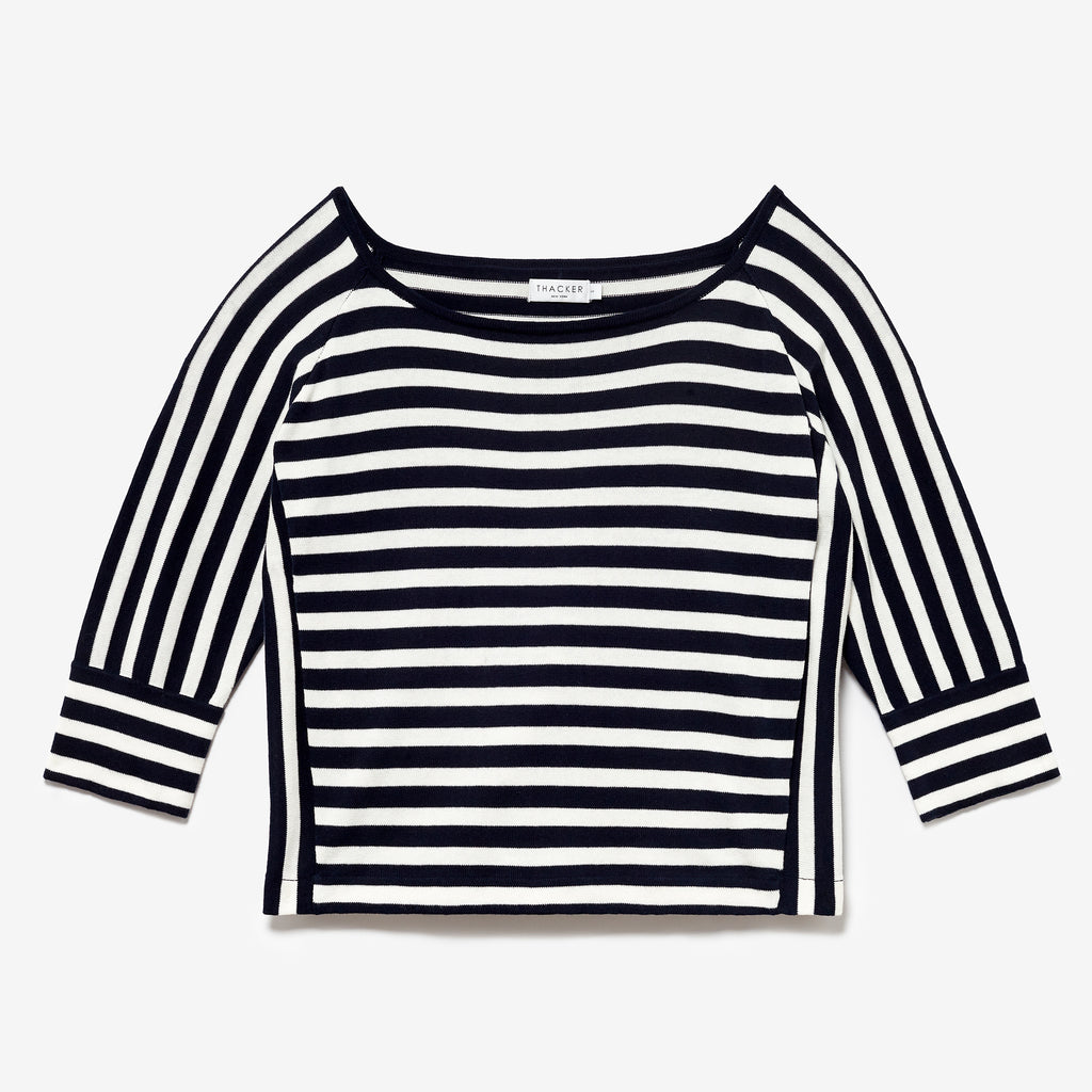 SERGE BOATNECK SWEATER - NAVY/WHITE