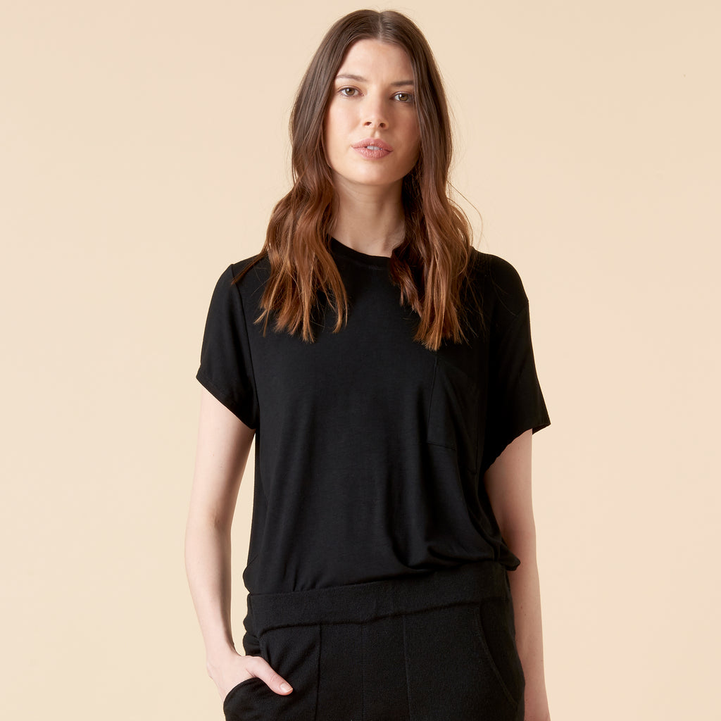 THEA KNIT TEE - BLACK