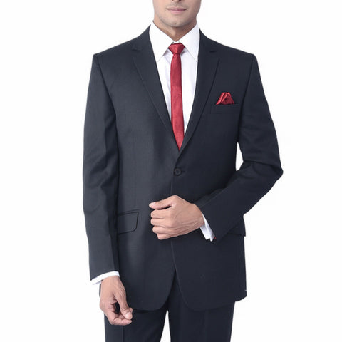 Rent- Charcoal Grey Self Pinstripe Suit