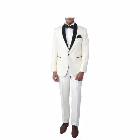 Rent- Cream Black Self Textured Tuxedo