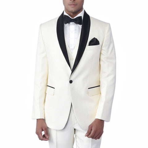 Cream Black Self Textured Tuxedo