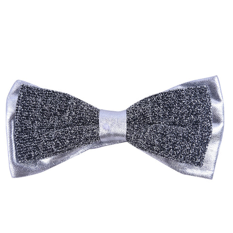 Double Layered Grey Silver Bow Tie