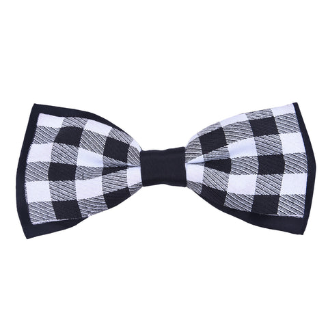 Double Layered Satin Black Bow Tie
