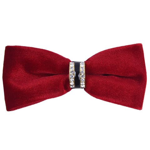 Velvet Red Bow Tie with Embellished Center