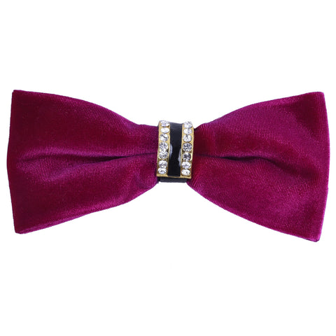Velvet Magenta Bow Tie with Embellished Center