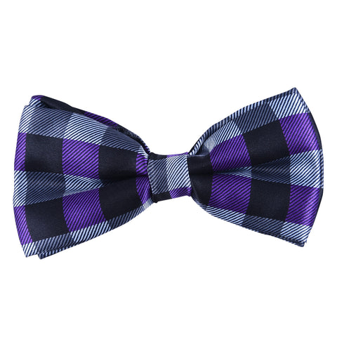 Double Layered Purple Grey Black Checked Bow Tie
