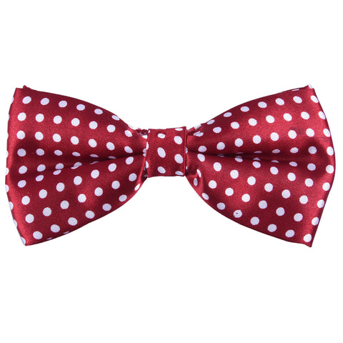 Satin Classic Red White Polka Dotted Bow Tie