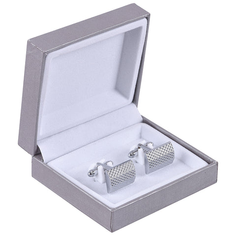 Rent- Classic Silver Micro Diamond Patterned Cufflinks