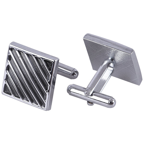Rent- Carbon Black Silver Diagonal Cufflinks