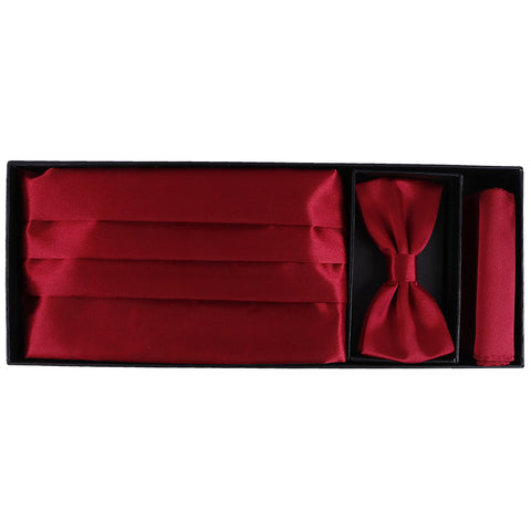 Satin Red Bow Tie + Cummerband + Pocketsquare Set
