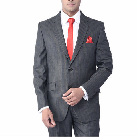 Grey Olive Classic Stripped Suit