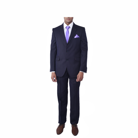 Rent- Black with Purple Pinstripe Suit