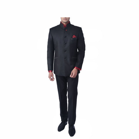 Rent- Jet Black Slub Bandhgala Suit