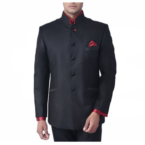 Rent- Black Bandhgala with Red Piping