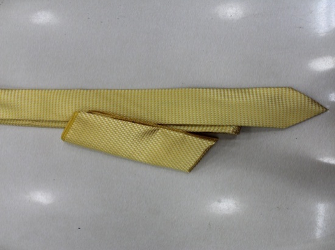 Yellow Self Print Tie With Pocketsquare