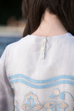 """Canal Wave"" Embroidery T-shirt dress"