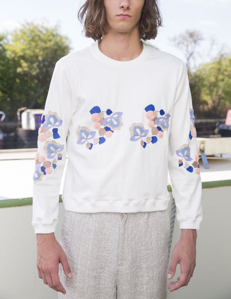 """Canal boat flower"" unisex Embroidery jumper"