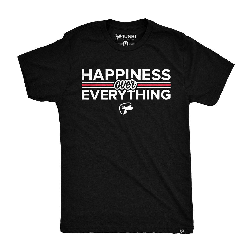 Happiness Over Everything Tee - Black/White/Varsity Red