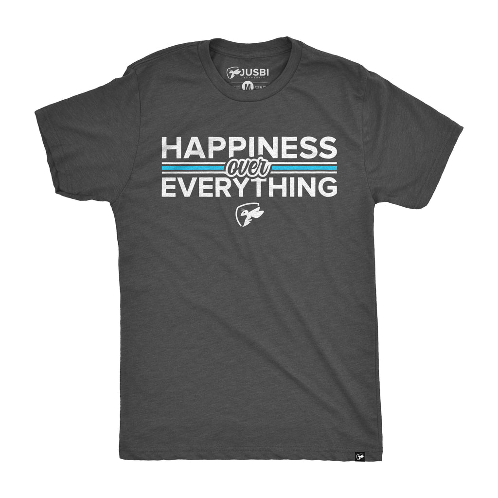 Jusbi - Short Sleeve Happiness Over Everything Tee - Charcoal/White/Ocean Blue