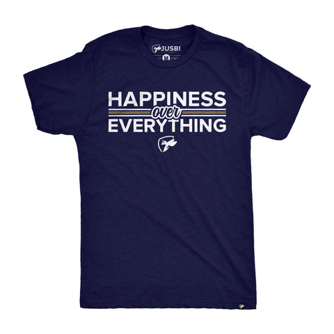 Happiness Over Everything Tee - Navy/White/Gold