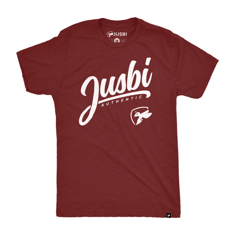 Jusbi™ Authentic Tee - Burgundy/White