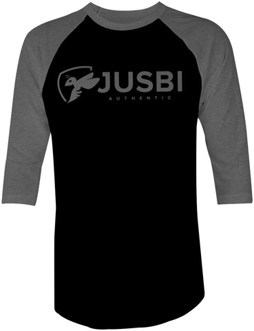 Jusbi - 3/4 Sleeve Raglan Jusbi™ Authentic 3/4 Sleeve Shirt - Charcoal/Black