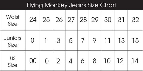 flying monkey klique b jeans size chart