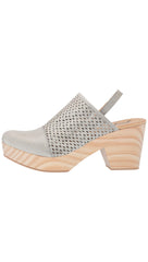 Free People Logan Grey Leather Preforated Sling Back Clogs I ShopAA