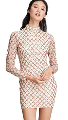 The Natalie Long Sleeved Criss Cross Sequin Turtleneck Dress Champagne