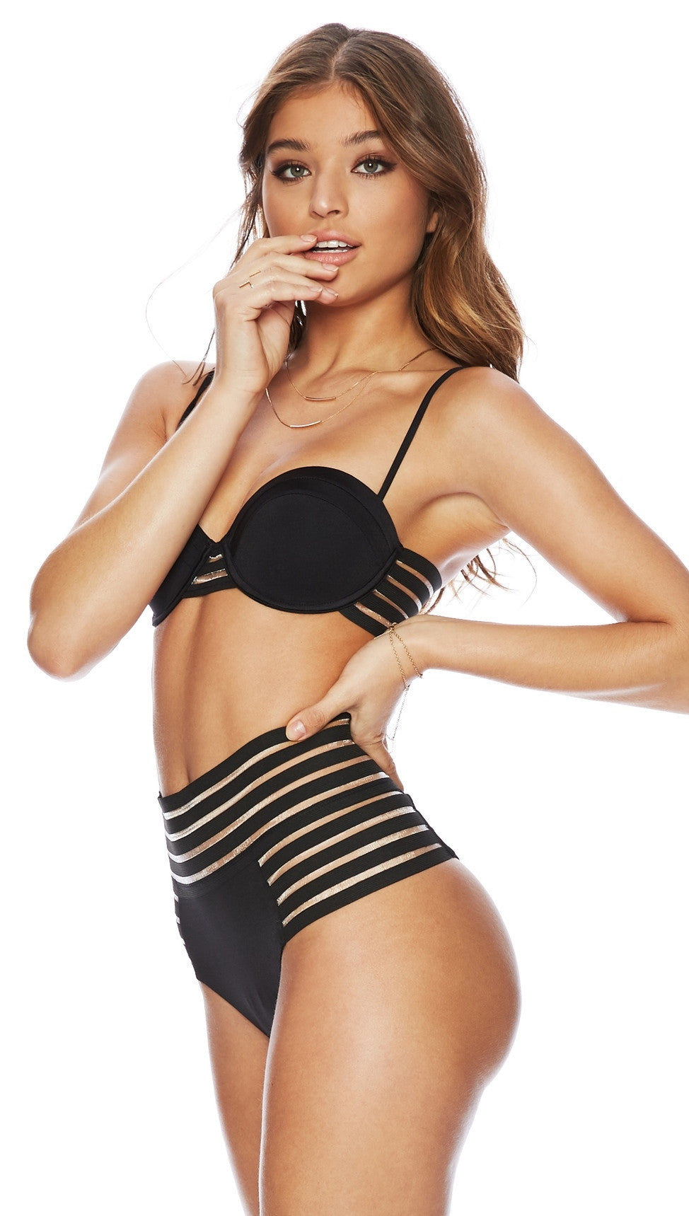 Beach Bunny Swimwear Sheer Addiction Balconet Top and High Waist Bottoms in Black