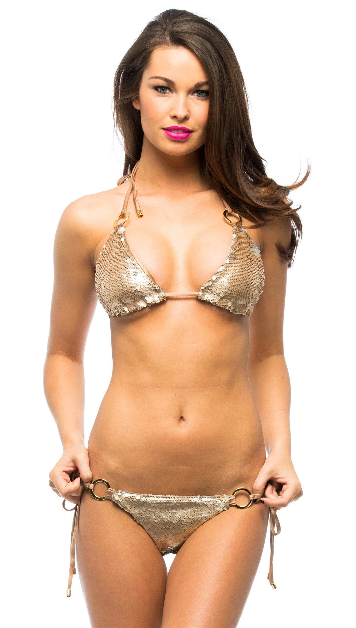beach bunny swimwear siren song sequin bikini bronze gold