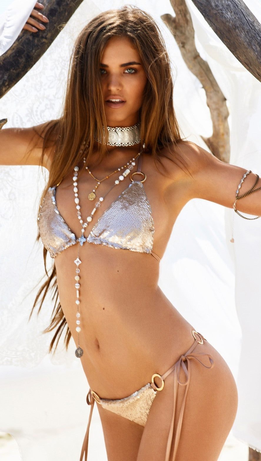 beach bunny siren song sequin bikini bronze gold