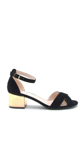 Criss Cross Black Suede Open Toe Sandals Gold Block Heel Ankle Strap Leather Shoes