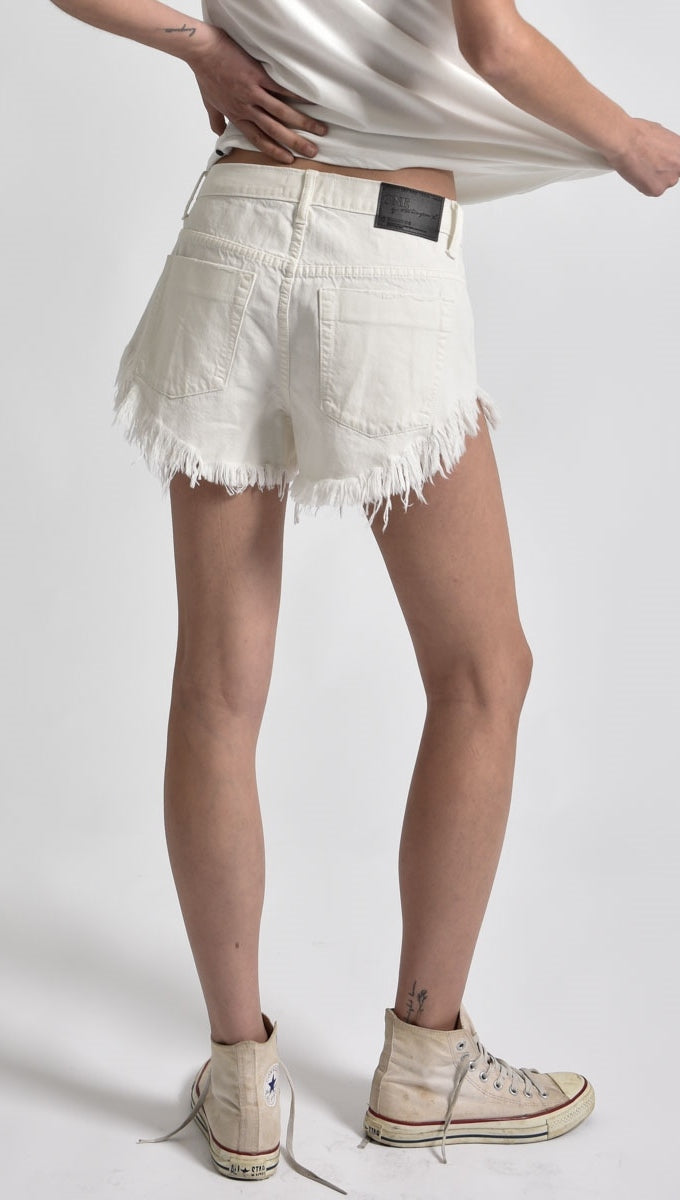 One Teaspoon Brandos Low Waist Relaxed Fit Denim Shorts Chalk White