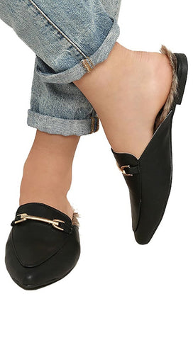 Slip On Chic Black Faux Fur Loafer Slides Vega Leather Buckle ShopAA