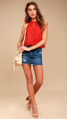 Free People Rory Crochet Overlay Cropped Sleeveless Boxy Tank Top Red