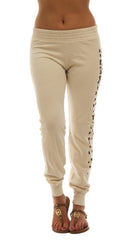 291 Les Amants Leopard Print Slim Track Sweat Pant Bone