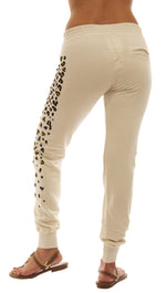 291 Les Amants Leopard Print Slim Track Sweat Pocket Pant Bone