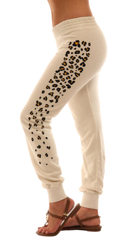 291 Les Amants Leopard Print Slim Track Sweat Pant Bone Skinny Sweats