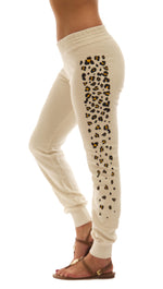 291 Les Amants Leopard Print Slim Skinny Sweat Pants Beige Bone