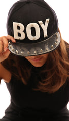 The Boy Snapback Cap Baseball Silver Stud Hat in Black