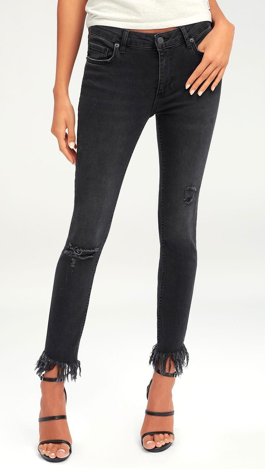 Free People Great Heights Frayed Skinny Denim Pants Black | ShopAA