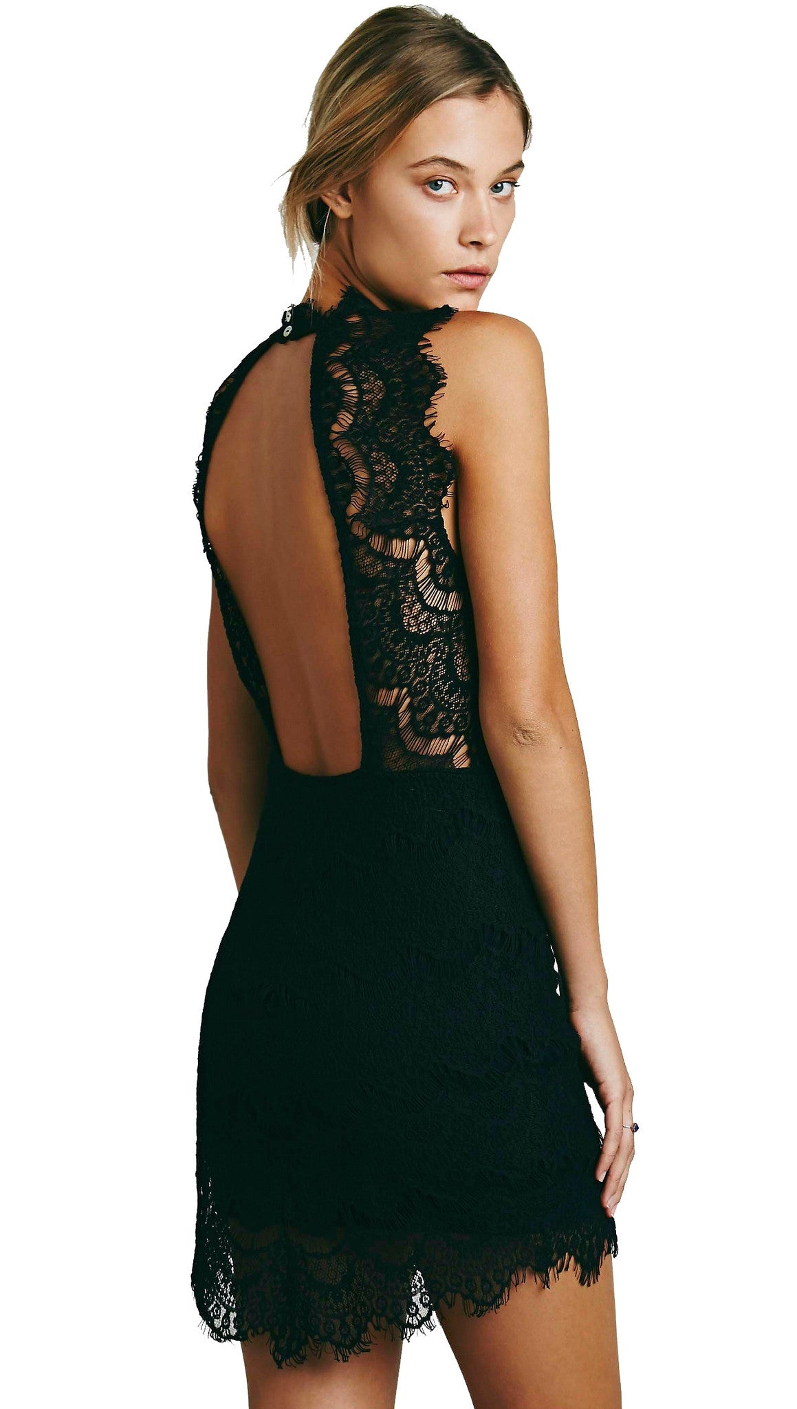 Free People Lace Daydream Bodycon Slip Dress Black