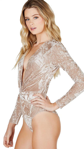Crushed Velvet Deep V Long Sleeve Bodysuit Champagne Beige Twist Knot