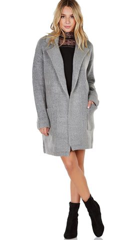 Lush Open Blazer Cardigan Sweater Jacket Heather Grey